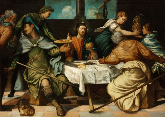 Tintoretto, Jacopo Robusti: The Supper at Emmaus. Religious/Biblical Fine Art Print.  (002000)